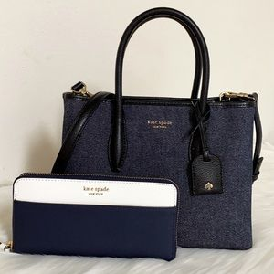 New💃Kate Spade Eva Denim Zip Top Satchel +wallet
